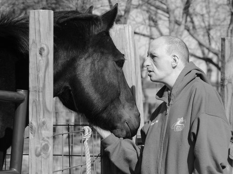 A program member pets a black horse over a fence