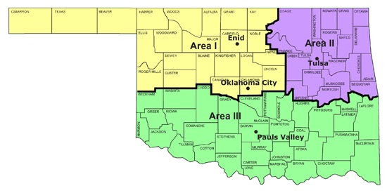 Map of Oklahoma, with counties and area boundaries (1, 2, and 3)